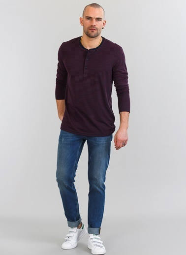 People By Fabrika V Yaka Düğmeli Sweatshirt Bordo